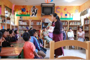 reading at the school library